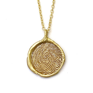 14k gold Fingerprint necklace 16mm
